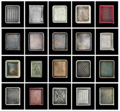 Photographic typology of developer trays belonging to famous photographers, arranged in a grid
