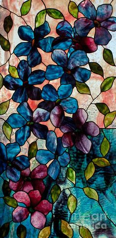 Blue Clematis Glass Art by David Kennedy