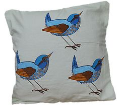 Cushion Cover-3 Birds-Blues-Turquoise-Teal-Orange