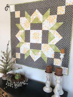 a Barn Quilt Inside with This Quilted Version Bring a Barn Quilt Inside with This Quilted Version - Quilting DigestBring a Barn Quilt Inside with This Quilted Version - Quilting Digest Star Quilts, Mini Quilts, Baby Quilts, Quilt Blocks, Scrappy Quilts, Owl Quilts, Barn Quilt Patterns, Quilting Patterns, Quilting Ideas