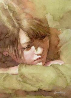 Watercolor Art By Atsushi Matsubayashi Watercolor Portrait Painting, Watercolor Face, Watercolor Artists, Watercolor Landscape, Portrait Art, Painting & Drawing, Watercolor Trees, Painting People, Figure Painting