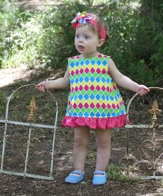 Pink & Yellow Quatrefoil Swing Dress & Diaper Cover - Infant