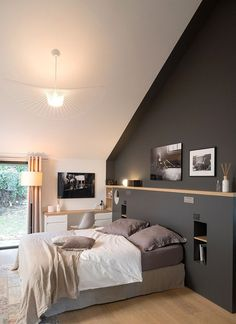 Dream Space - MARION LANOE, interior designer and decorator, Lyon . Dream Space - MARION LANOE, interior designer and decorator, Lyon architect gray a good color to paint a . Living Room Interior, Interior Design Bedroom, House Interior, Home, Interior Design Living Room, Interior, Bedroom Design, Modern Bedroom, Dream Spaces