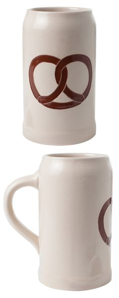 No good brew is complete without this iconic salty snack. Pay homage to your favorite beverage's best friend with this Doughy Knot Stein. This one-liter mug is made from hand-painted stoneware and boas...  Find the Doughy Knot Stein, as seen in the Valentine's Day Gifts for Him Collection at http://dotandbo.com/collections/valentines-day-gifts-for-him-2016?utm_source=pinterest&utm_medium=organic&db_sku=116343
