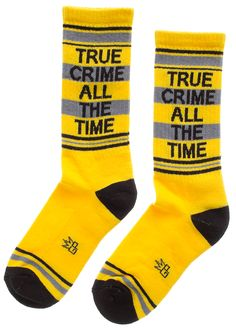 If you're a Dateline watchin', Anne Rule readin', can't-get-enough-true-crime-podcasts listenin' kinda person.no judgements here, but you probably need these True Crime All The Time socks. These athletic style yellow and black gym socks are also soft an Athletic Fashion, Athletic Style, Sourpuss Clothing, True Crime, All About Time, Style Me, Socks, Comfy, Unisex
