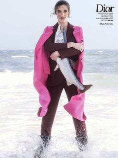 """Temporada De Pesca"" Hilary Rhoda in DIOR Fall 2014 for Vogue Brazil August 2014 by Zee Nunes"