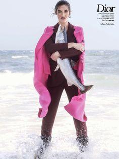 """Temporada De Pesca"" Hilary Rhoda in DIOR Fall 2014 for Vogue Brazil August 2014 by Zee Nunes"