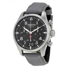 Alpina Startimer Pilot Black Dial Grey Fabric Strap Men's Watch AL372B4S6
