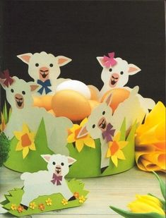 318 (390x512, 98Kb) Sheep Crafts, Owl Crafts, Diy And Crafts, Spring Crafts For Kids, Spring Projects, Paper Punch Art, Diy Ostern, Easter Art, Spring Art
