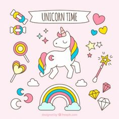 hand-drawn-lovely-unicorn-with-accessories_23-2147549659.jpg (338×338)