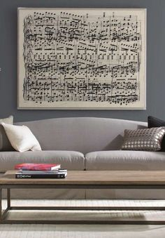 How to recreate this $2000 piece of oversized sheet music wall art by a trip to Staples and some modge podge. (With a real link!)
