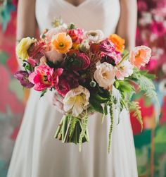 artful inspired bouquet of poppies, ranunculus, tulips, amaranthus + fern Bridal Flowers, Flower Bouquet Wedding, Bridesmaid Bouquet, Floral Wedding, Wedding Colors, Wedding Styles, Wedding Trends, Indoor Wedding Inspiration, Our Wedding