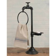 Spigot Soap and Towel Holder is a truly unique way to bring a country farmhouse feel into your bathroom or kitchen.
