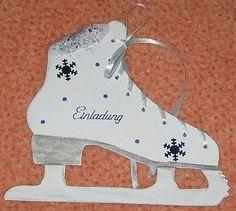 Einladung Schlittschuhlaufen basteln Eislaufen