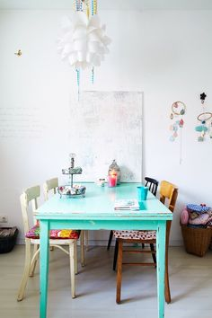 Like the colourful table. Like the mixed chairs. Don't like the lampshade. Room could do with a bit more colour.