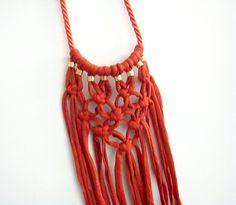 Macrame Bib Necklace Orange T-shirt Yarn Macrame by ChichiKnots