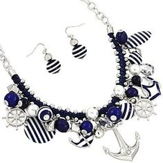 Chunky Nautical Navy Blue & Silvertone Anchor Helm Sea Boat Fashion Jewelry Necklace & Earrings HW Necklace Collection http://www.amazon.com/dp/B00CQRHE9U/ref=cm_sw_r_pi_dp_.plQtb15AF5QPQP3
