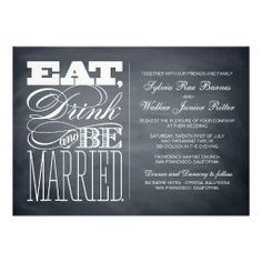 Chalkboard Wedding Invitation  I Do  Ceremony