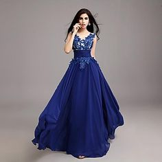 Cocktail Party/Homecoming/Prom/Holiday Dress A-line Scoop Floor-length Tulle/Georgette Dress – USD $ 69.99
