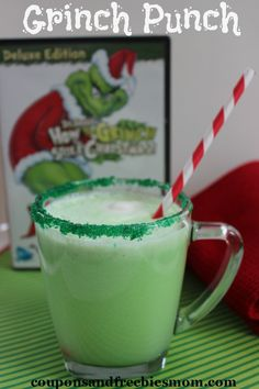 Grinch Punch Recipe | Coupons and Freebies Mom | Nothing screams Christmas like snuggling up with the kids and watching The Grinch Who Stole Christmas! This Grinch Punch Recipe is the perfect drink to make with the kids to sip while you watch this holiday weekend! So easy, delicious and fun to make with the kids this will be a recipe that becomes a holiday tradition! | #Christmas #holidays #TheGrinch #punchrecipe #recipe #TheGrinchWhoStoleChristmas #kidfriendly