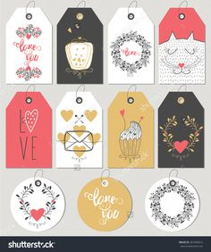 Valentines Day Gift Tags And Cards. Hand Drawn Design Elements. Vector Illustration - 367445012 : Shutterstock