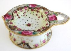 Nippon Porcelain Tea Strainer Hand Painted Pink Roses Moriage