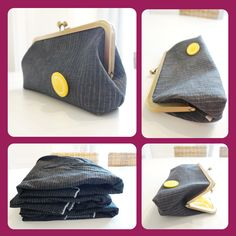 This striped-blue retro denim handbag features a yellow button embellishment that will instantly remind you of times gone by. The clutch makes for a perfect gift for that hard to buy for friend or relative or a great splurge gift for yourself. Diy Purse, Clutch Purse, Retro Fashion, Women's Fashion, Handmade Clutch, Retro Style, Blue Stripes, Gifts For Women, Gift Guide