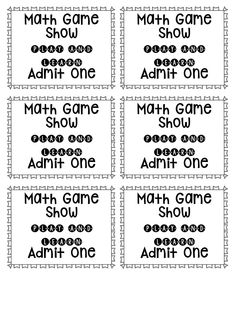 math game show ticket freebie - set up your lesson like a game show and have students determine which contestant has the correct answer - use these tickets to call them to the carpet area