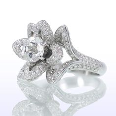 Diamond Lotus Flower Bridal Wedding Anniversary Ring by samnsue