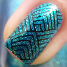 Geometric nail art featuring #ILNP High Tide | polilish