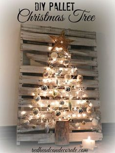Christmas Tree DIY Pallet Christmas Tree by Redhead Can Decorate *Wish we had room on the front steps for this.*DIY Pallet Christmas Tree by Redhead Can Decorate *Wish we had room on the front steps for this. Pallet Christmas Tree, Noel Christmas, Country Christmas, All Things Christmas, Winter Christmas, Christmas Ornaments, Homemade Christmas, Modern Christmas, Christmas Tree On Wall