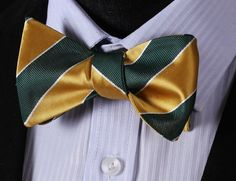 BS415G Green Yellow Stripe 100%Silk Jacquard Woven Men Butterfly Bow Tie BowTie Pocket Square Handkerchief Hanky Suit Set