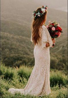 45 Super Ideas For Wedding Boho Dress Vintage Etsy Western Wedding Dresses, Classic Wedding Dress, Casual Wedding, Perfect Wedding Dress, Wedding Dress Styles, Boho Wedding Dress, Lace Wedding, Rustic Bohemian Wedding, Mermaid Wedding