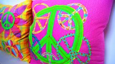 CHRISTMAS in JULY SALE 16 x 16 Peace Sign Cushions - Personalized Throw Accent Pillows, Custom Made to Match any Decor, You Choose the Colo. $64.00, via Etsy.