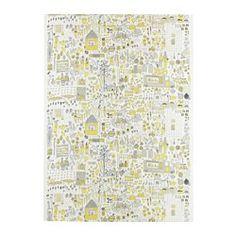 DAGGSKÅL, Fabric, white/yellow, gray