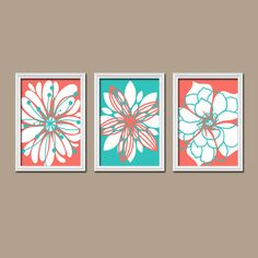 Wall Art Canvas Artwork Coral Turquoise Flower Petal by trmDesign, $29.00 Love love love Paige's room