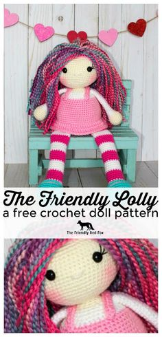 This free crochet doll pattern was designed for cuddles and for sitting on a shelf! Characterized by her long legs and sweet jumper, you can customize her in fun colors or make a look a like doll! Full tutorial included!