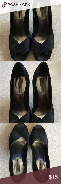 Steve Madden Black Satin Heels Steve Madden black satin heels. Shows signs of wear on the bottom of the shoe but gentle signs of wear on the visible areas of the heels. Steve Madden Shoes Heels