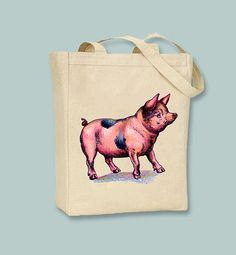 Adorable Spotted Pig Vintage Illustration  Selection by Whimsybags, $12.00