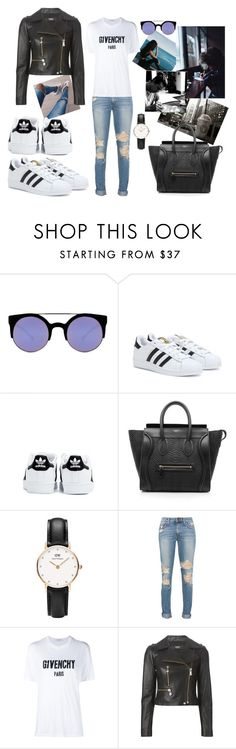 """i wanna write you a song"" by maryanacoolstyles ❤ liked on Polyvore featuring Miss Me, Quay, adidas, CÉLINE, Daniel Wellington, Givenchy and Versus"