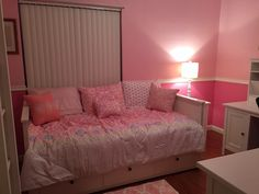 IKEA Hemnes daybed for our tween girl who loves pink. Accessories from TJ Maxx