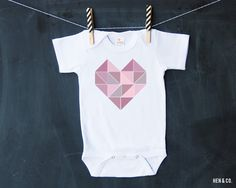 GEO HEART Baby Bodysuit  Valentines Day Baby Bodysuit by HENANDCO
