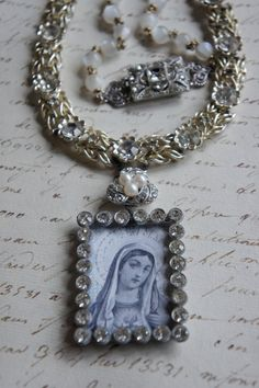 Mother Mary-Vintage assemblage necklace prayer card rhinestone pendant rosary beads assemblage jewelry - by French Feather Designs.