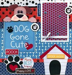 DOG GONE CUTE 2 premade scrapbook pages paper piecing 4 ALBUM LAYOUT PET CHERRY