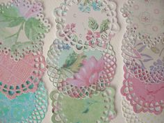 Patterned paper die cut small doilies