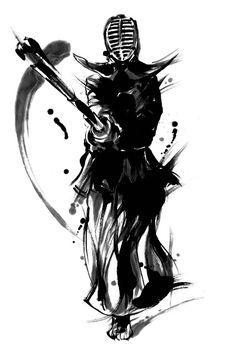 feiyueparkourkungfu: Kung Fu Paintings Let Me. Kendo, Samurai Tattoo, Samurai Art, Aikido, Dojo, Bushido, Warrior Spirit, White Art, Japanese Art