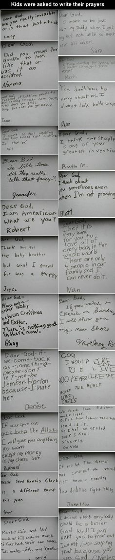 Kids were asked to write their prayers - they say the darnest things! HA!