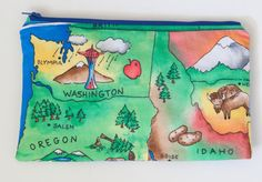 Large Makeup Bag  GREAT NORTHWEST map  by BlueBelugaDesigns