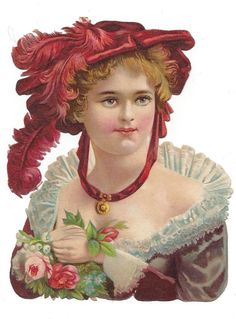 victorian die cut scrap Lovely Lady in a Red Hat 1880s picclick.com