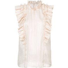 Rebecca Taylor frill-embroidered blouse (1.240 BRL) ❤ liked on Polyvore featuring tops, blouses, sleeveless tops, white ruffle blouse, embroidered blouse, ruffle blouse and white embroidered blouse